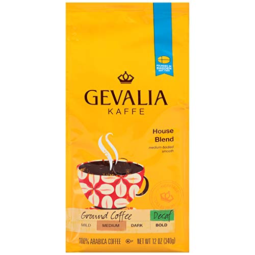 Gevalia House Blend Decaf Coffee, Medium Roast, Ground, 12 Ounce Bag