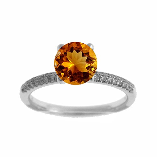 Citrine Ring Tdw Diamond - Platinum 1/7ct TDW Diamond Engagement Ring With 1ct Citrine Round Center (G, SI1-VS2)