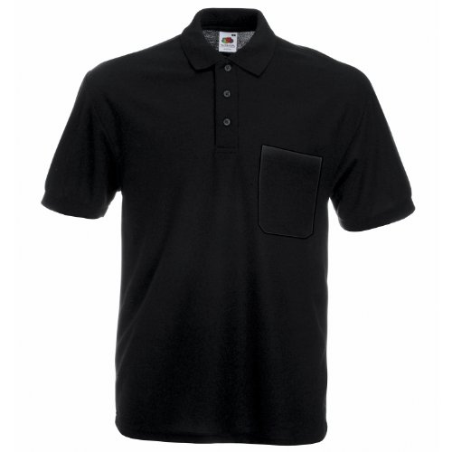 Fruit of the Loom 65/35 Pocket polo Black L