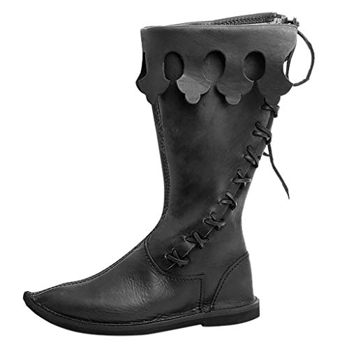 ❤Kauneus❤ Halloween Boots for Men Cosplay Strange Shoes Black Red PU Knee Boots All Saints' Day