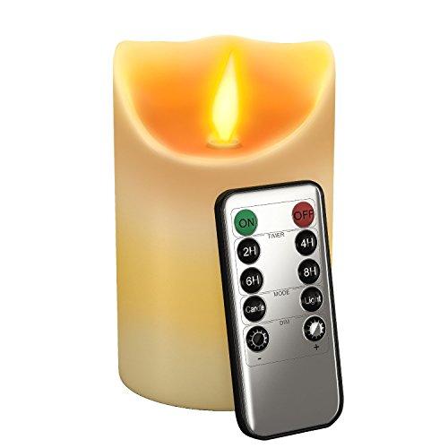 Gideon Flammenlose LED-Kerze, echtes Wachs und echte flackernde Kerzenbewegung Motion,mit Fernbedienung (Ein/Aus, Timer, Dimmer), 12,7cm,Vanille-Duft, Elfenbeinfarben