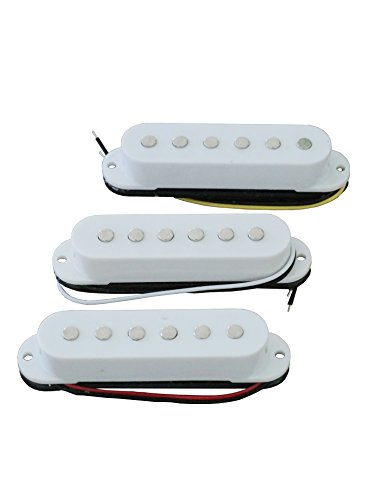 9' Chrome Booster (Electric Guitar Pickup Set of 3 White Alnico Single Coil Pickups Neck Middle Bridge for Stratocaster Style SSS Electric Guitar Replacement.)