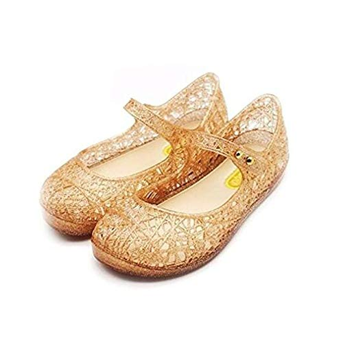 Qinyue.JF Baby Girl Sandals Flat Shoes Soft Crystal Plastic Children's Princess Shoes (8 US Toddler, Gold)