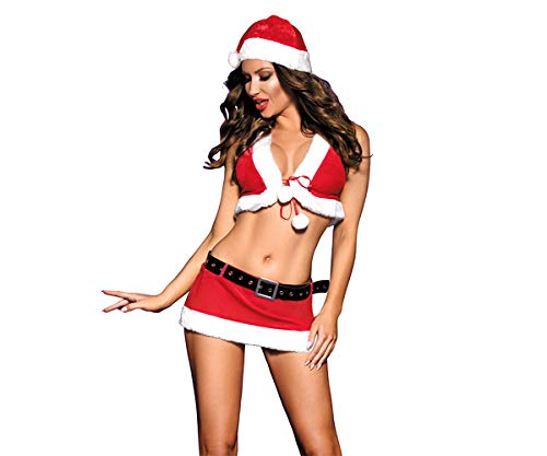 Zanyware Womens Sexy Christmas 5pcs Costume Outfit with hat, top, Belt, Skirt and String (Sexy Christmas Costume)