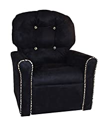 Dozydotes Personalized 4 Button Black/Cheetah Micro Suede Child Rocker Recliner Chair with Cheetah Accents