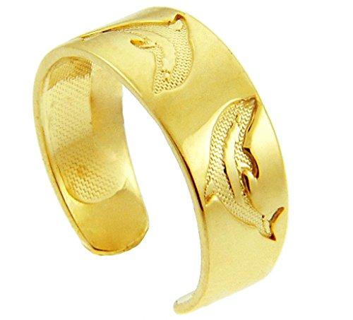 Dolphin Yellow Gold Toe Ring (14K Gold) - 14k Ring Dolphin Toe Gold