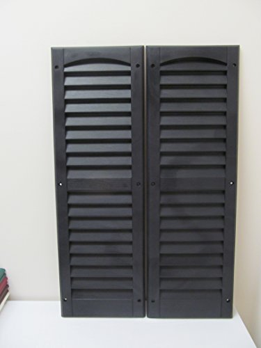 "Louvered Shed Shutter or Playhouse Shutter Black 9"" X 27"" Sold By the Pair"