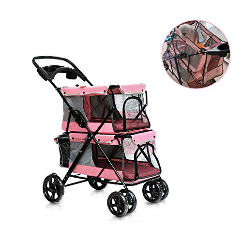 - PETSUPPLY Pet Stroller, Pet Travel Pushchair Shockproof Stroller Adjustable Direction,Rear Wheel Safety Brake,Double Layer Cockpit,A