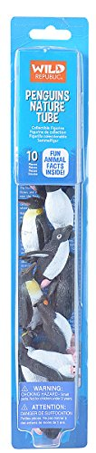 Tiny Penguins - Wild Republic Penguin Figurines Tube, Penguin Toys, Emperor Penguin, Gentoo, Chinstrap, Adelie, Rockhopper And Swimming Penguins Ten Piece Set