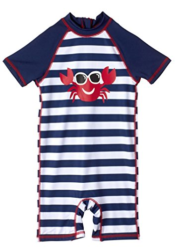 Wippette Baby Boys Crabs & Stripe 1PC, Crab Navy, 18 Months