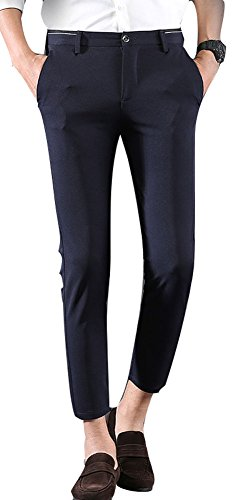 (Plaid&Plain Men's Casual Stretch Flat Front Dress Pants Slim-Tapered Suit Pants 661Navy)