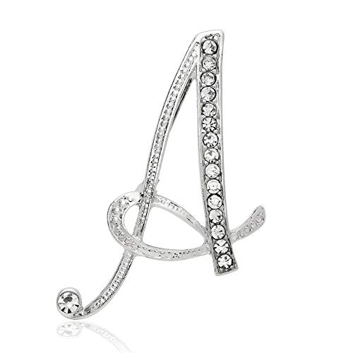 Chili Jewelry Clear Crystal Script Alphabet Letter A Initial Brooch Pin Lapel Pin