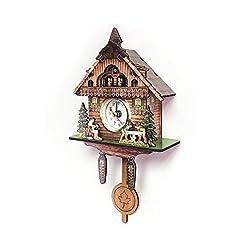TastyHome Mini Cuckoo Clocks Mini Wall Clocks Home Decoration Waterproof Coated Paper Printed Surface No Carving No Cuckoo Calling (Style3)