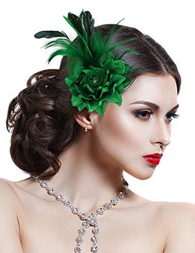 - Hotvivid Fascinators for Women Tea Party Wedding Headband Feather Brooch Flower Mesh Hair Clip(Green)