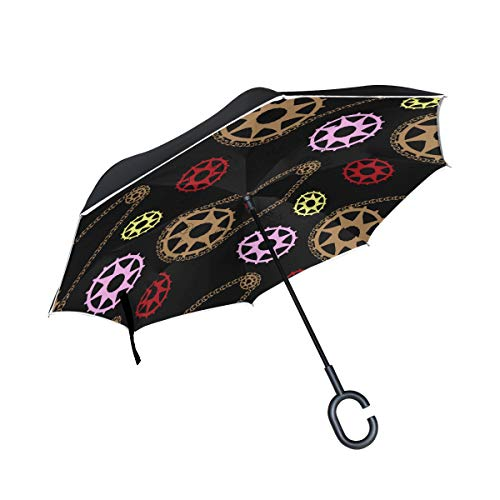 MAPOLO Bike Mechanic Inverted Double Layer Straight Umbrellas Inside-Out Reversible Umbrella with C-Shaped Handle for Rain Sun Car Use by MAPOLO