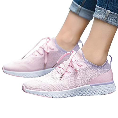 (Women's Brisk Lace-up Sneakers - Ladies Light Weight Casual Tennis Gym Running Walking Shoes Pink)