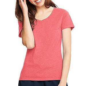 Hanes Womens X-Temp V-Neck T-Shirt 42V0, L, Charisma Coral