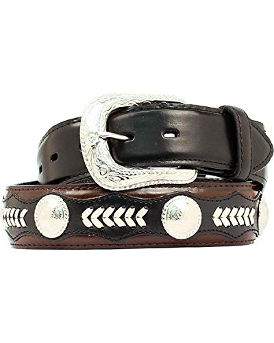 Nocona Men's Hired Black Lace Circle, 34 (Western Leather Concho Belt)