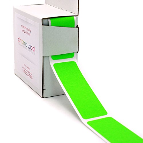 "1"" x 3"" Fluorescent Green Rectangle Color Coding Stickers 