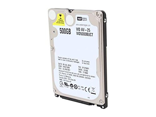 Western Digital,Storite WD AV-25 WD5000BUCT 500GB 5400 RPM 16MB Cache SATA 3.0Gb/s 2.5'' Internal Hard Drive Bare Drive Usage for Video Surveillance