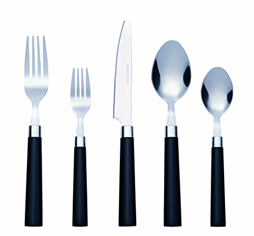 (Bon Florentine 20-Piece Stainless Steel Flatware Silverware Cutlery Set - Black, Include Knife/Fork/Spoon, Dishwasher Safe, Service for 4)