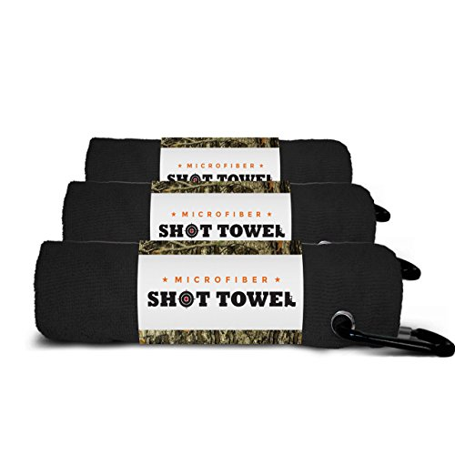 Shot Towel Pitch Black-3pk Microfiber, 16 X 16 with Carabiner Clip. For Shooting, Hunting, and Tactical