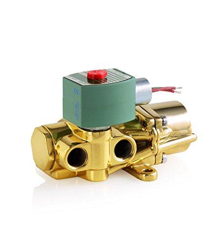 ASCO 8344G001-120/60,110/50 Brass Body Pilot Operated Piston/Poppet Solenoid Valve, 3/8