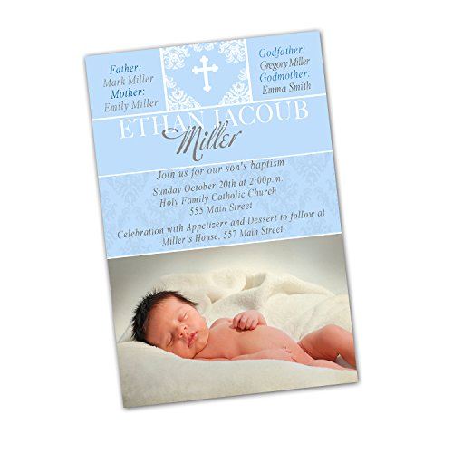 Blue Damask Photo Card - 30 Invitations Blue White Damask Cross Picture Design Baptism Party Personalized Cards Photo Paper