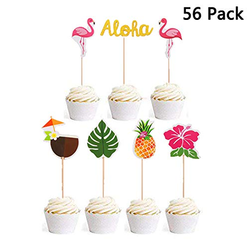 - Finduat 56 Pack Hawaiian Aloha Cupcake Toppers for Luau Summer Flamingo Pineapple Hibiscus Flowers Tropical Palm Leaves Cupcake Toppers Picks Party Supplies