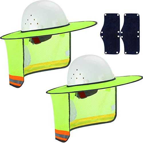 Skylety 4 Pieces Hard Hat Sun Neck Shield With High Visibility Mesh and Sunshade Sweatband for Construction Helmets UV Protection (Style 3)