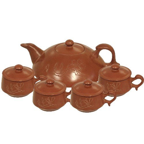 Terracotta Clay 10 Piece Asian Teapot & 4 Cups