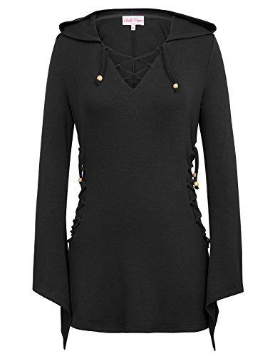 Bella Hooded Pullover (Belle Poque Womens Gothic Steampunk Victorian Hooded Top With Flared Sleeves BP453-1 M Black)