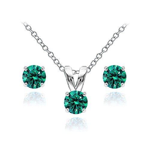 Sterling Silver Solitaire Blue Zircon Necklace and Stud Earrings Set created with Swarovski (Swarovski Zircon Necklace)