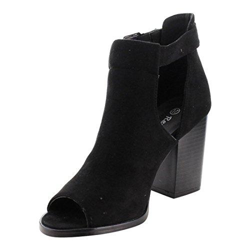 Cut Heel Buckle Out Women's Heels Chunky Af79 Reneeze Sandals Black FExAqwXx
