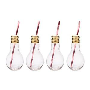 Mixology, Bicchieri a Forma di Lampadina Edison, Trasparente, Set da 4 2 spesavip