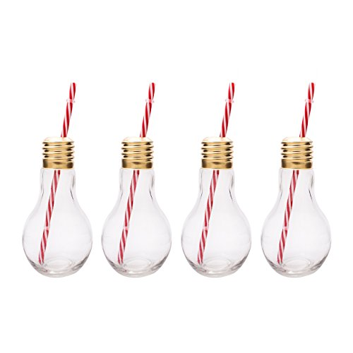Mixology Gh-Jlb4 Unique Set Of 4 Flat Base Edison Light Bulb Drinking Glass (Ring Glass Cocktail)