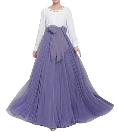 Women Wedding Long Maxi Puffy Tulle Skirt Floor Length A Line with Bowknot Belt High Waisted for Wedding Party Evening (Dusty Lavender, Medium,US 4-16)]()