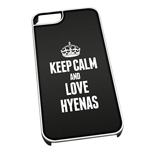 Bianco cover per iPhone 5/5S 2490nero Keep Calm and Love Hyenas
