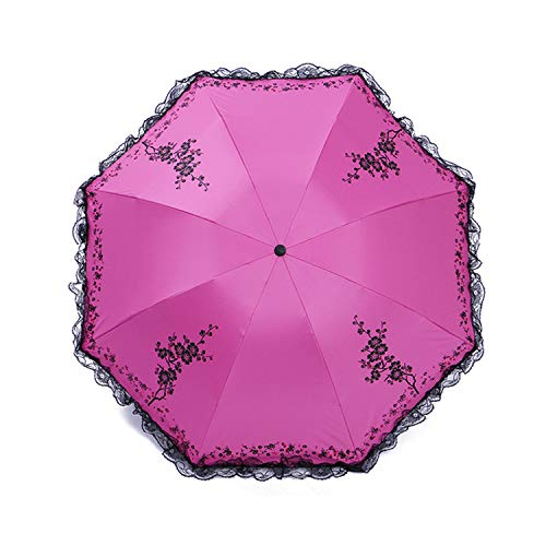 6 Colors Plum Flower Blossom Parasol lace three folding umbrella brand Sunny/Rain parasol lace sun umbrella rain women,rose red (Sunny Rainbow Nylon Umbrella Parasols)