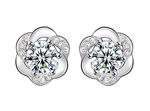 Infinite U 925 Argent Zircone Cubique Forme de Fleur/ Flocon de Neige Clous/Boucles d'oreilles pour Femmes/Filles
