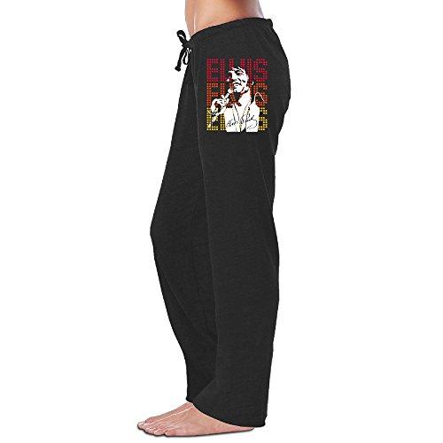 - Duola Women's Sweatpants Elvis Presley Music Style Black Size M
