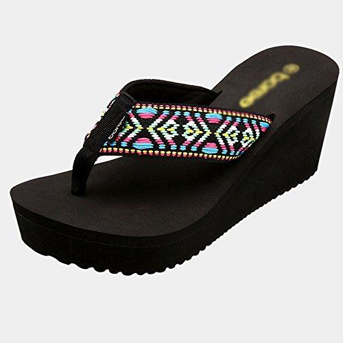 Summer Lady Hausschuhe Sandalen dicken Boden Strand Schuhe Mode Sandalen ( Farbe : B , größe : EU38/UK5.5/CN38 ) A
