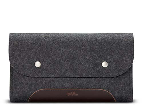 Pack & Smooch Storage Bag Accessory Pouch 100% Wool Felt and Vegetable Tanned Leather Handcrafted - Dark Grey/Dark Brown