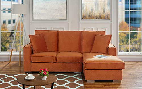 Classic Velvet Sectional Sofa, Small Space L Shape Couch with Chaise ()