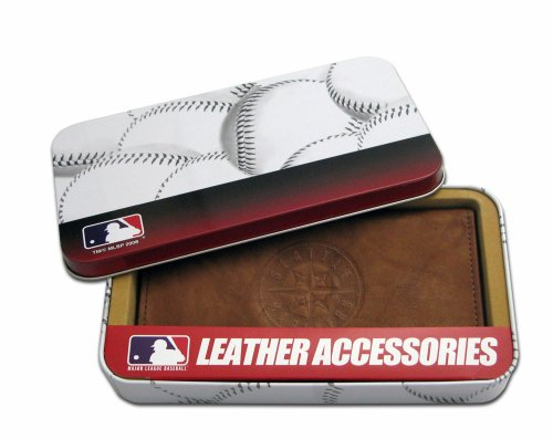 MLB Seattle Mariners Embossed Genuine Cowhide Leather Checkbook (Seattle Checkbook Cover)