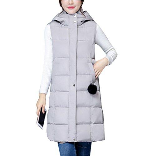 宝一瞬仮定、想定。推測Zhhlaixing ウォームコート Long Hooded Vest European and American Style Cotton Vests Slim jacket for Women