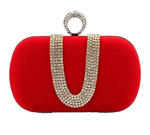 Womens Beaded Finger Ring Velvet Evening Bag Wedding Party Clutch Purse Handbag(Red/Silver)