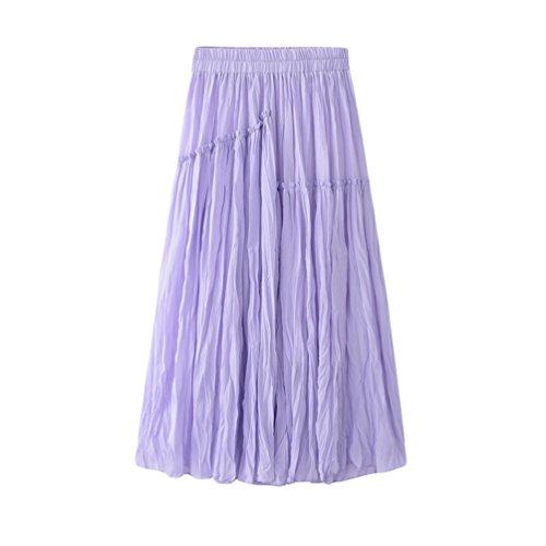 lastique Plage Plisse Swing Grande Violet Jupes Maxi Style Dt Casual Jupe Femme Taille pour Longue Yiiquanan HqX6F