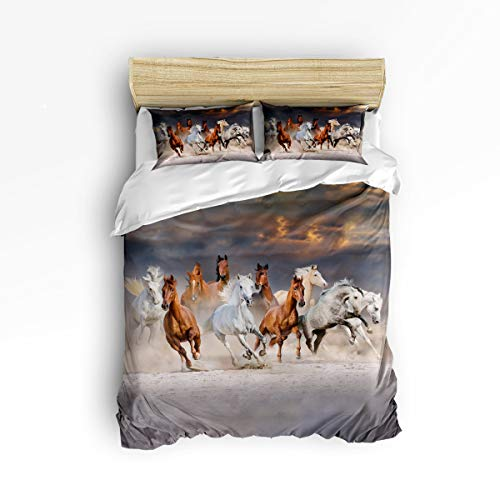 (YEHO Art Gallery Queen Size Cute 3 Piece Duvet Cover Sets for Boys Girls,3D Horses Running On The Desert Animal Print,Decorative Bedding Set Include 1 Comforter Cover with 2 Pillow Cases)
