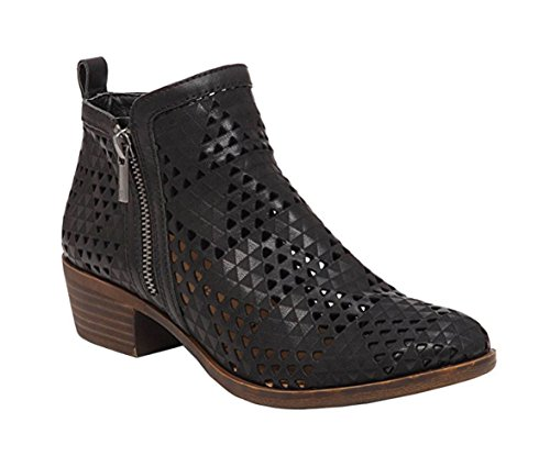 Lucky Brand Women's Basel Bootie,Black Perforated Nubuck,US 7.5 M